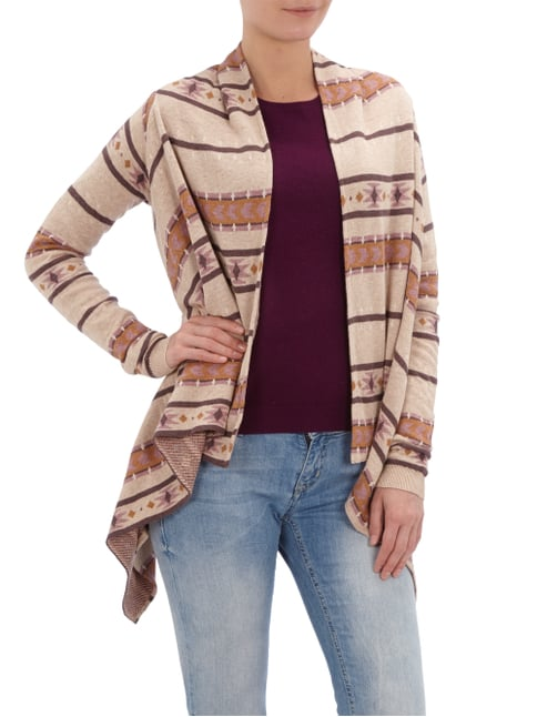 REVIEW Cardigan mit Ethnomuster Camel meliert - 1