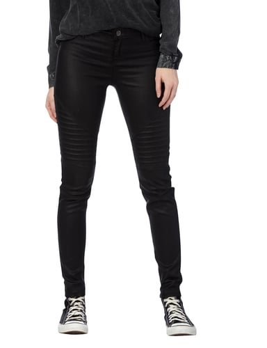 REVIEW Coated Skinny Fit Jeans mit Steppungen Schwarz - 1