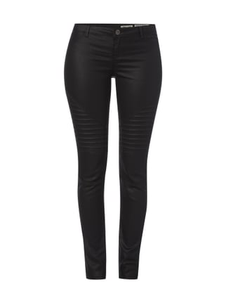Coated Skinny Fit Jeans mit Steppungen Rot - 1