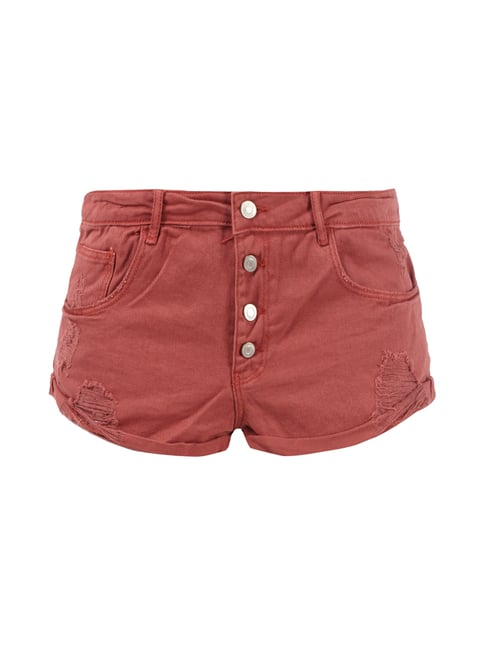 Coloured 5-Pocket-Jeansshorts im Destroyed Look Rot - 1