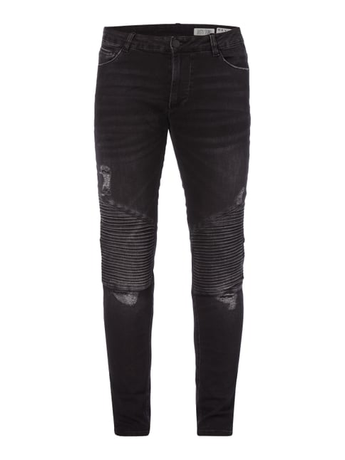 Coloured Skinny Fit Jeans im Biker-Look Grau / Schwarz - 1