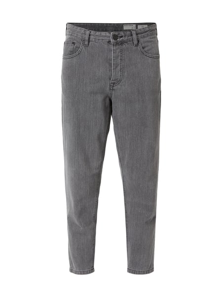 REVIEW Cropped Rinsed Washed Tapered Fit Jeans Grau - 1