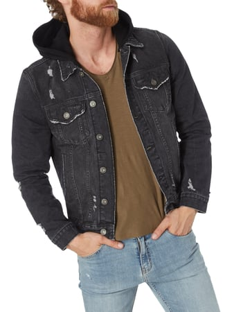 REVIEW Destroyed Look Jeansjacke mit Sweatkapuze Schwarz - 1