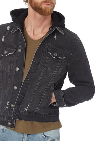 Destroyed Look Jeansjacke mit Sweatkapuze REVIEW online kaufen - 1