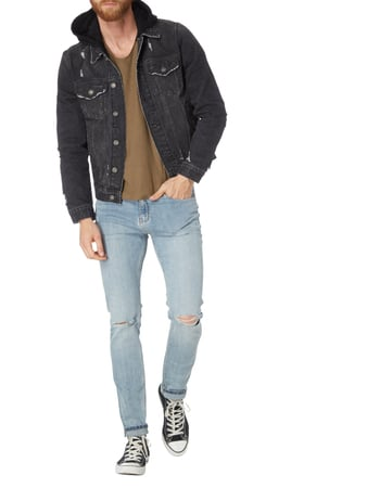 REVIEW Destroyed Look Jeansjacke mit Sweatkapuze in Grau / Schwarz - 1