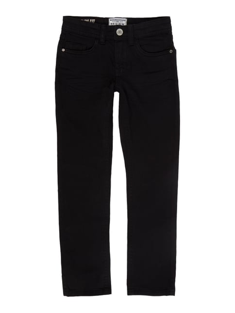 Coloured Slim Fit Jeans mit Stretch-Anteil Grau / Schwarz - 1