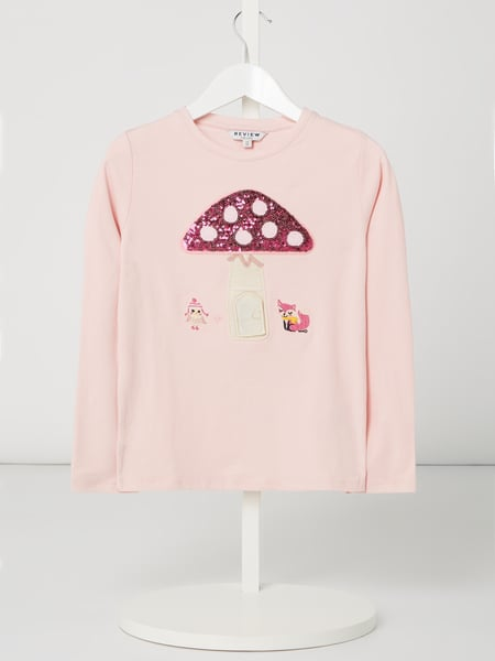 Review for Kids Longsleeve mit Filz-Aufnäher Rosa - 1