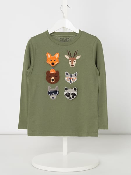 Review for Kids Longsleeve mit interaktiven Tier-Aufnähern Grün - 1