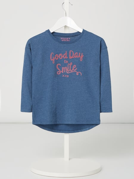 Review for Kids Longsleeve mit Message-Flockprint Blau - 1