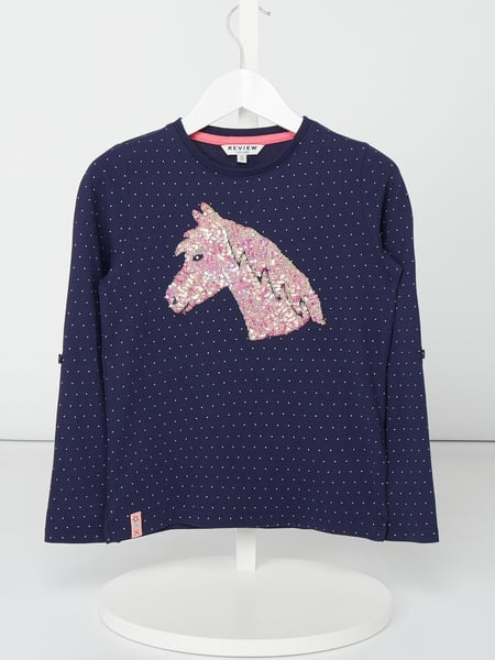 Review for Kids Longsleeve mit Motiv aus Pailletten Blau - 1