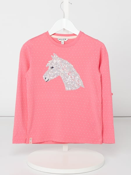 Review for Kids Longsleeve mit Motiv aus Pailletten Rosa - 1