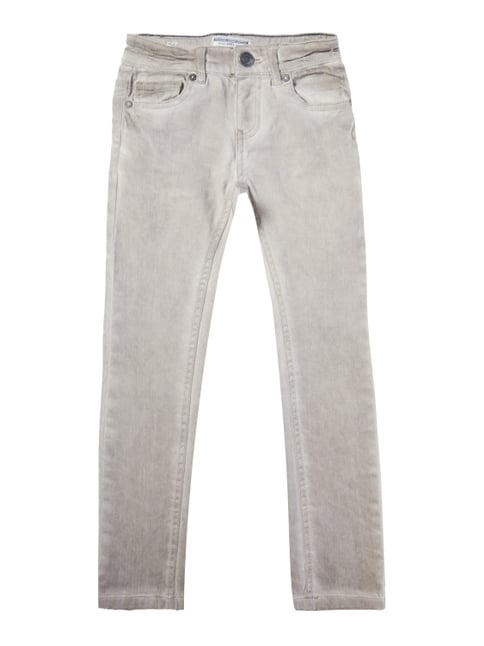 Slim Fit 5-Pocket-Jeans im Washed Out Look Braun - 1