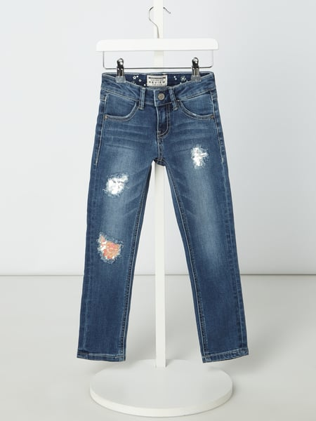 Review for Kids Slim Fit Jeans im Used Look mit Pailletten Blau - 1