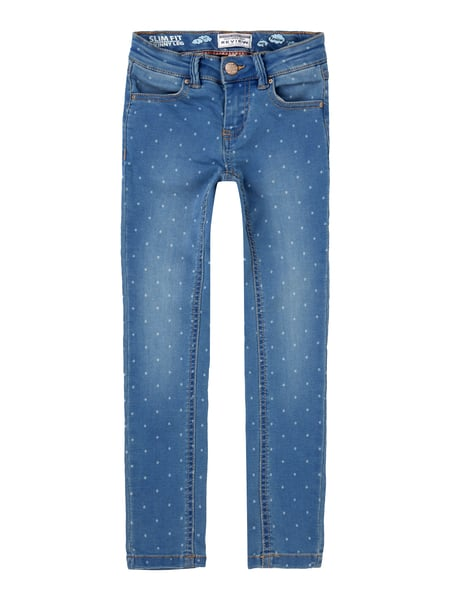 Slim Fit Jeans mit Punktemuster