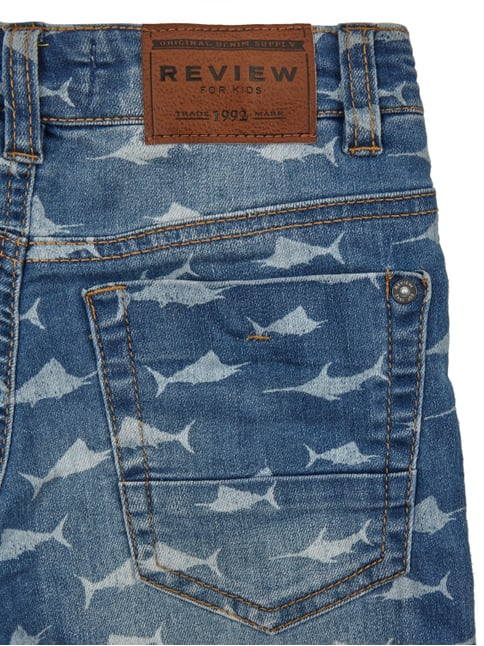 Stone Washed Jeansbermudas mit Haimuster Review for Kids online kaufen - 1