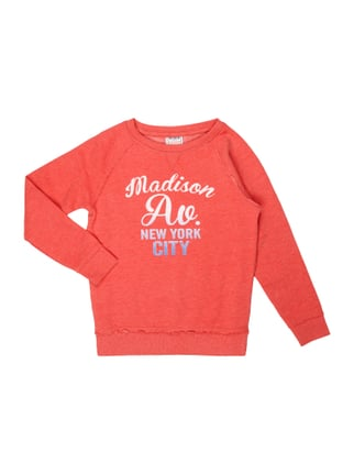 Sweatshirt mit Flockprint Rot - 1