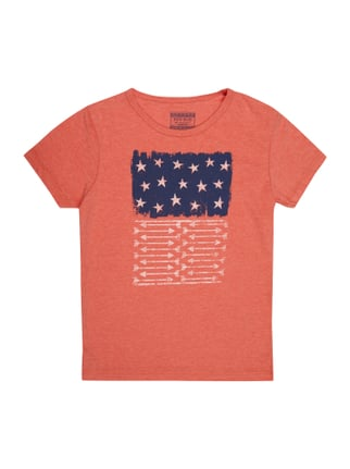 T-Shirt mit Flaggen-Print Orange - 1