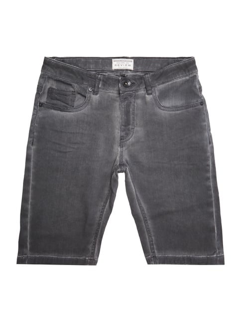 Jeansshorts im Washed Out Look Grau / Schwarz - 1