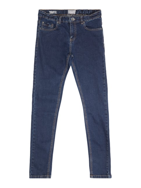 Rinsed Washed Regular Fit 5-Pocket-Jeans Blau / Türkis - 1