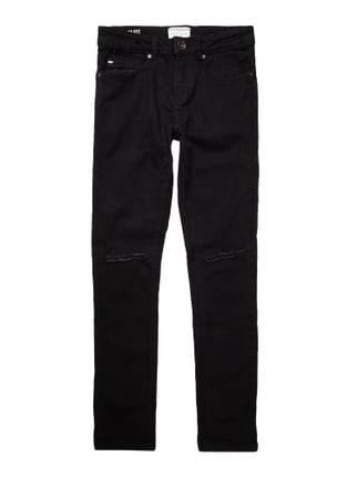 Slim Fit Jeans im Destroyed Look Grau / Schwarz - 1