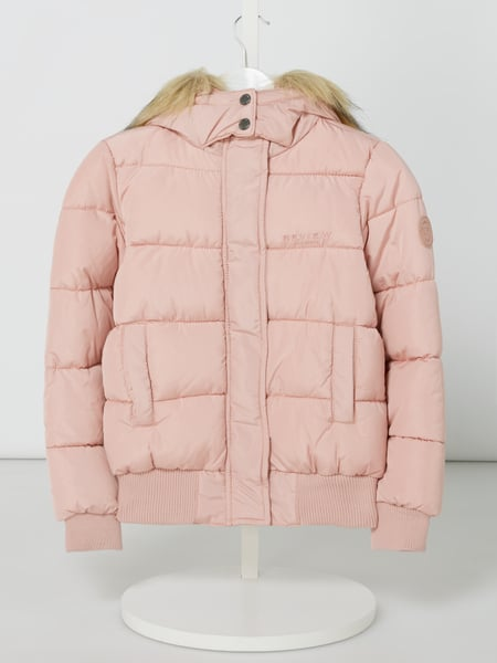 Review for Teens Steppjacke mit abnehmbarem Webpelz Rosa - 1