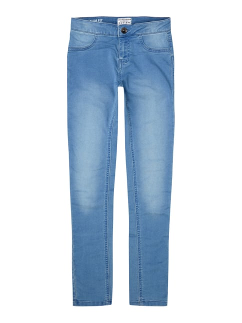 Stone Washed Skinny Fit Jeggings Blau / Türkis - 1