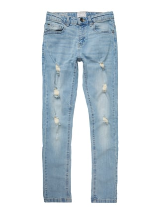 Stone Washed Slim Fit Jeans im Destroyed Look Blau / Türkis - 1