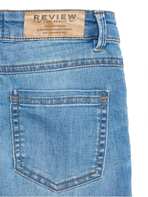 Stone Washed Slim Fit Jeans mit Gürtel Review for Teens online kaufen - 1