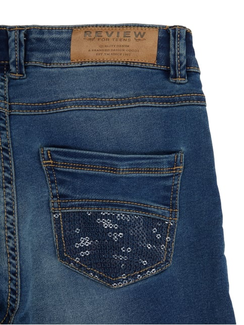 Stone Washed Slim Fit Jeans mit Pailletten-Besatz Review for Teens online kaufen - 1