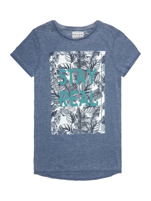T-Shirt im Washed Out Look mit Print Blau / Türkis - 1