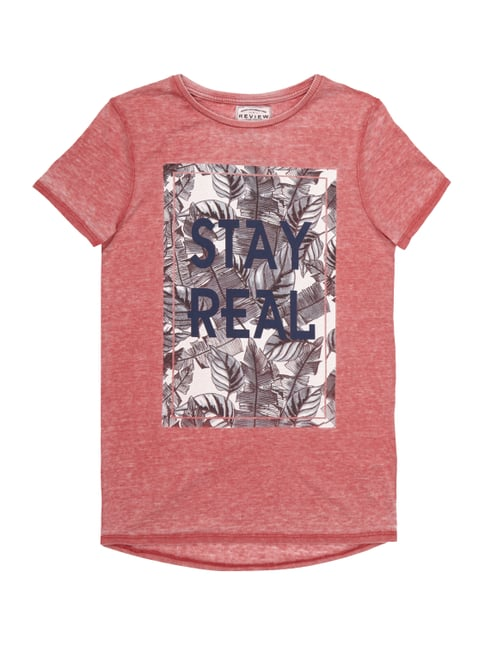 T-Shirt im Washed Out Look mit Print Rot - 1
