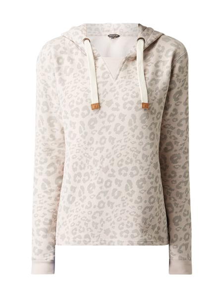 REVIEW Hoodie mit Allover-Muster Rosa meliert