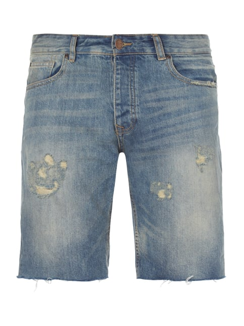 Jeansbermudas im Destroyed Look Blau / Türkis - 1