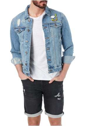 REVIEW Jeansjacke im Destroyed Look Blau - 1