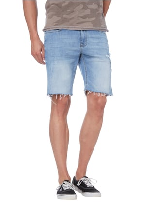 REVIEW Jeansshorts im Destroyed Look Himmelblau - 1