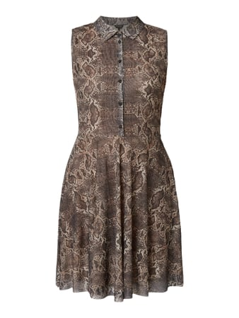 REVIEW Kleid mit Animal-Print Beige - 1