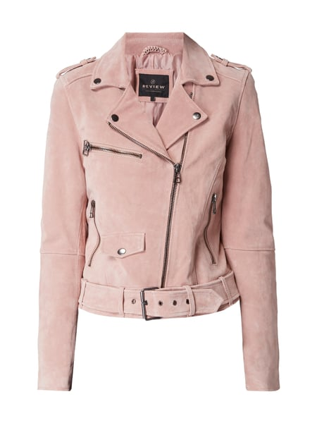 REVIEW Lederjacke im Biker-Look Altrosa