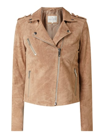 REVIEW Lederjacke im Biker-Look Beige - 1