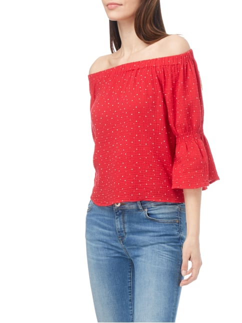REVIEW Off Shoulder Blusenshirt mit Punktemuster Kirschrot - 1