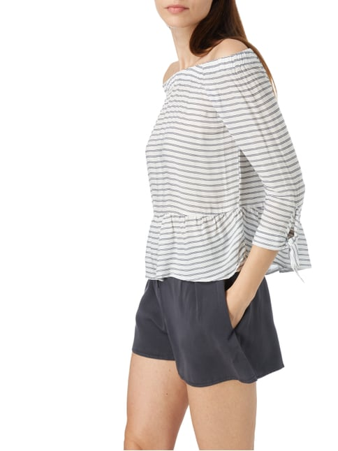 REVIEW Off Shoulder Blusenshirt mit Streifenmuster Weiß - 1
