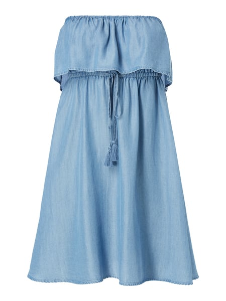 Off Shoulder Kleid in Denimoptik Blau / Türkis - 1