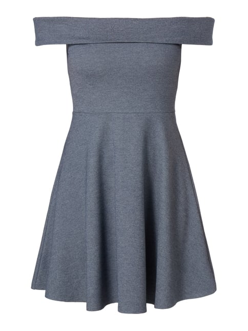 Off Shoulder Kleid in Melangeoptik Blau / Türkis - 1