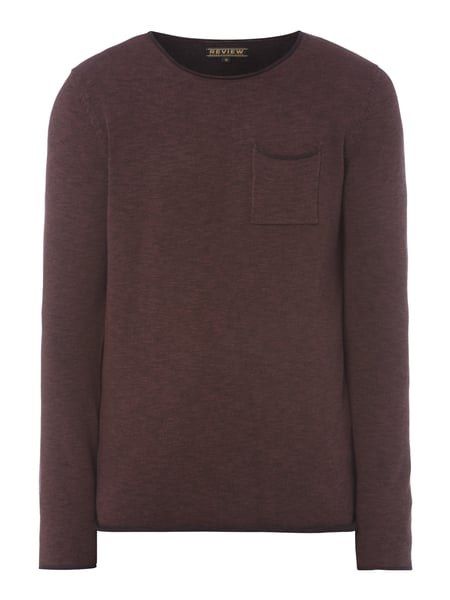 REVIEW Pullover mit Brusttasche Bordeaux Rot