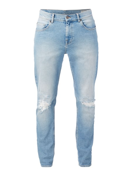 8074eaf75e471 REVIEW Relaxed Skinny Jeans im Destroyed Look in Blau / Türkis ...