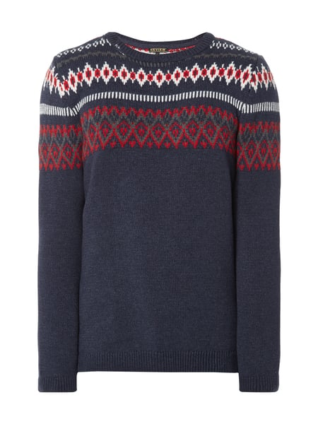 REVIEW REVIEW Pullover mit Norweger-Muster Marineblau meliert