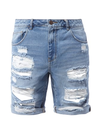 REVIEW Sami Slimani 5-Pocket-Bermudas im Destroyed Look Blau - 1