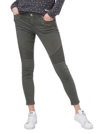 REVIEW Skinny Fit Jeans im Biker-Look Olivgrün - 1