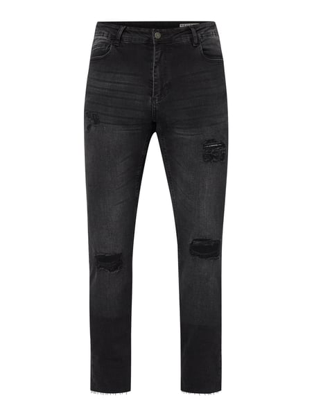REVIEW Skinny Fit Jeans im Destroyed Look Grau - 1