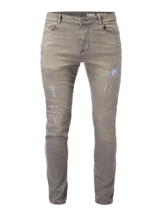 Skinny Fit Jeans im Destroyed Look Grau / Schwarz - 1