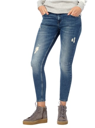 REVIEW Skinny Fit Jeans im Used Look Dunkelblau - 1
